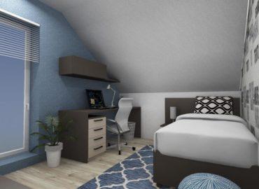 Pokoj s postelí a stolem
